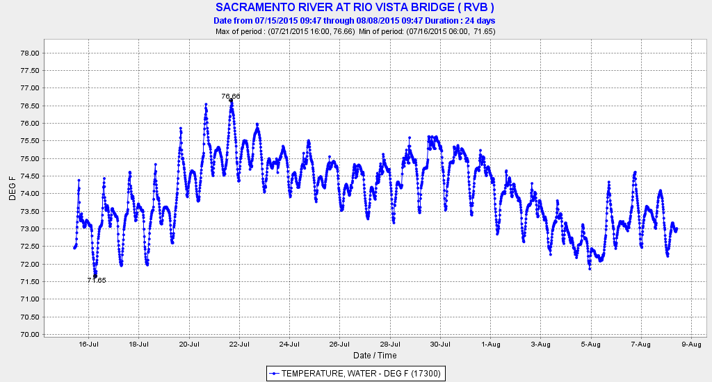Figure 4. Water temperature at Rio Vista Bridge in July-August 2015