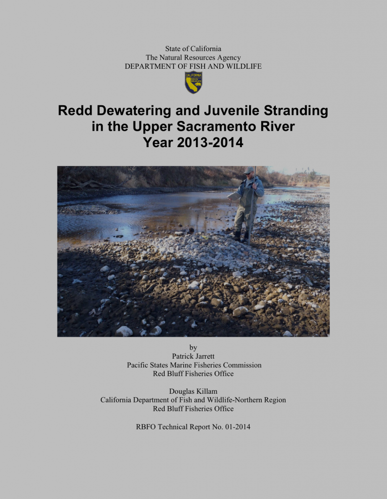 CDFW Report on stranding mortality of salmon eggs and alevins in the Sacramento River in late summer 2014. It is obvious from the report's cover photo that the problem was not just water temperature.