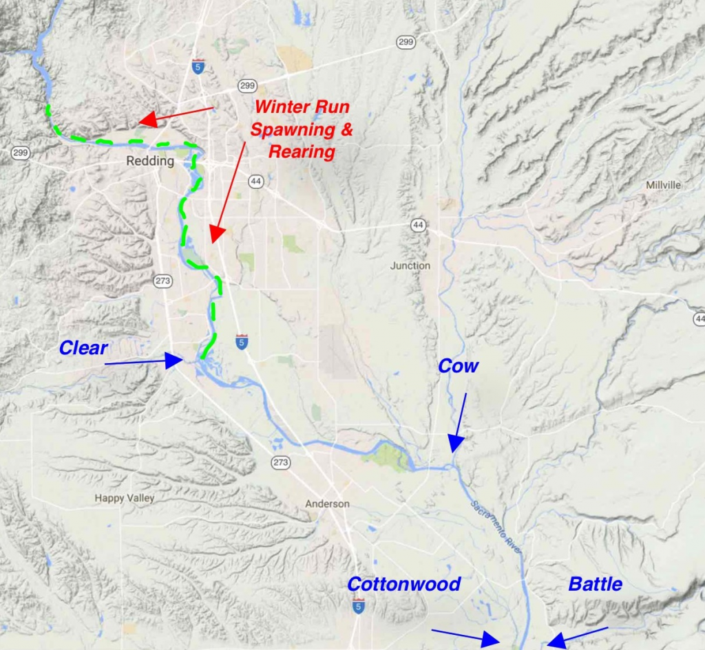 Map of winter run spawning location