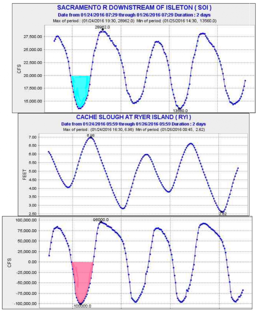 Graph of Tidal flows and stages Cache Slough and Sacramento Jan 2016