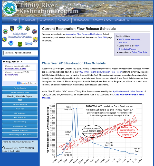 Figure 1.  Trinity River Restoration Program Homepage.