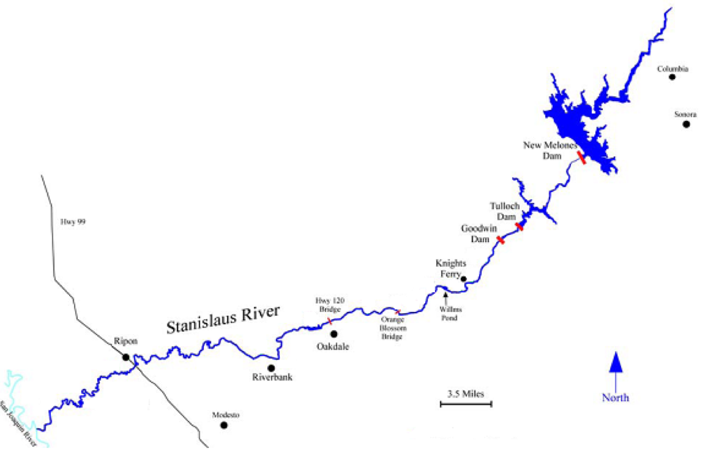stanislaus trout (steelhead)  california fisheries blog - map of lower stanislaus river with usgs gaging stations