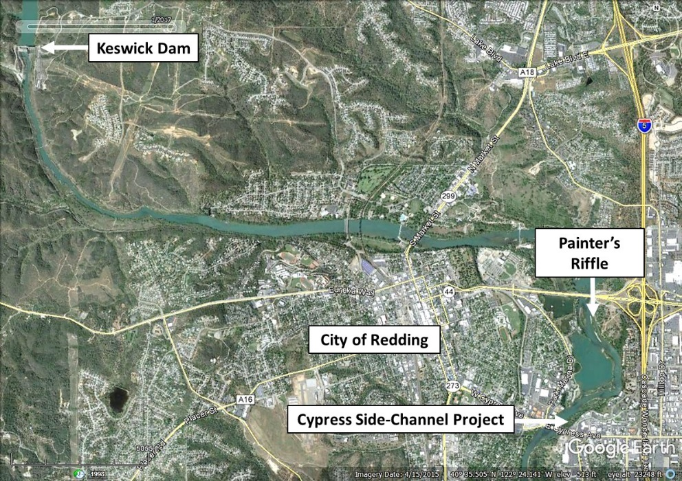 Figure 1.  Location of the North Cypress Street side-channel project to restore juvenile salmon rearing habitats.  The Painter's Riffle project is located just upstream of Cypress Street which was previously described in this blog:  http://calsport.org/fisheriesblog/?s=painter.