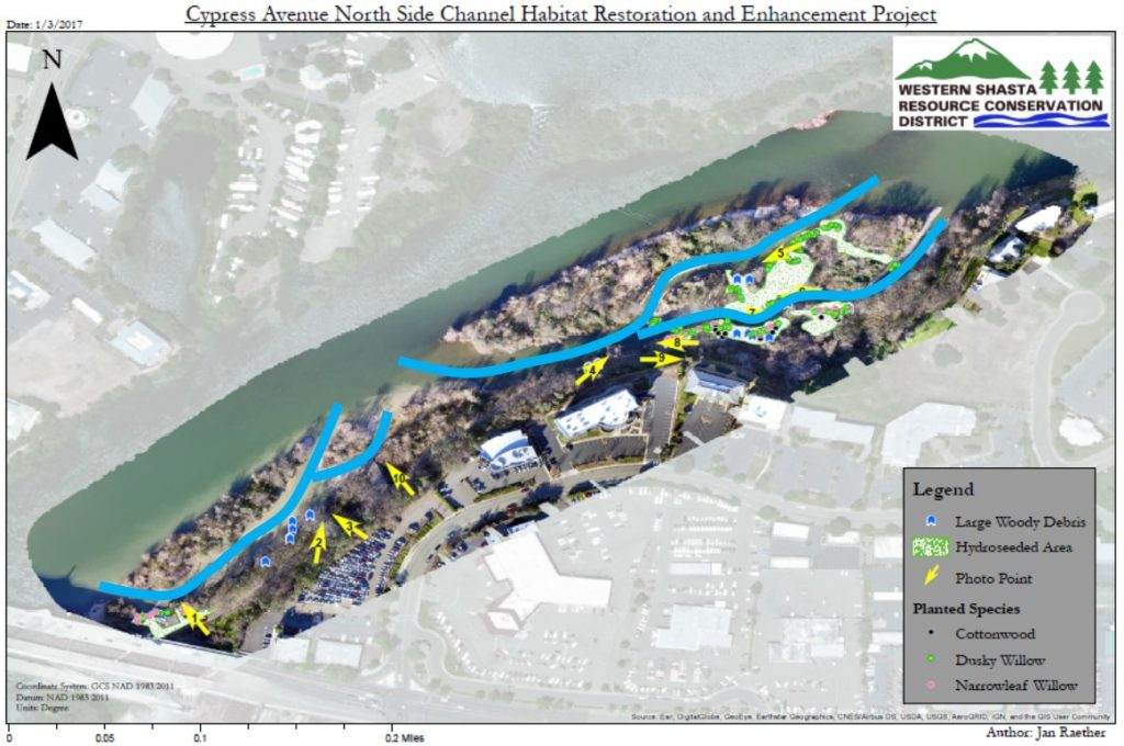 Figure 3.  Post-construction schematic of the North Cypress side-channel project.  Restored side channels are depicted by blue lines (courtesy of the Western Shasta Resource Conservation District).  Sacramento River flow is from the upper right to the lower left in the photograph.