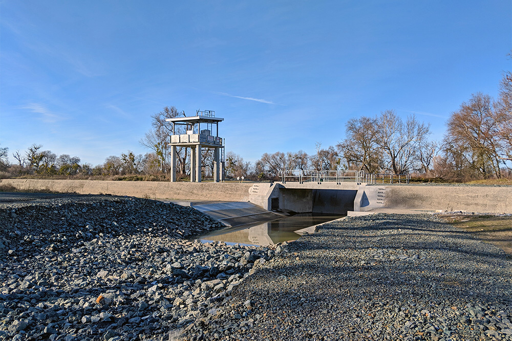 Figure 1. New Fremont Weir gated notch to help fish passage between Yolo Bypass and Sacramento River.