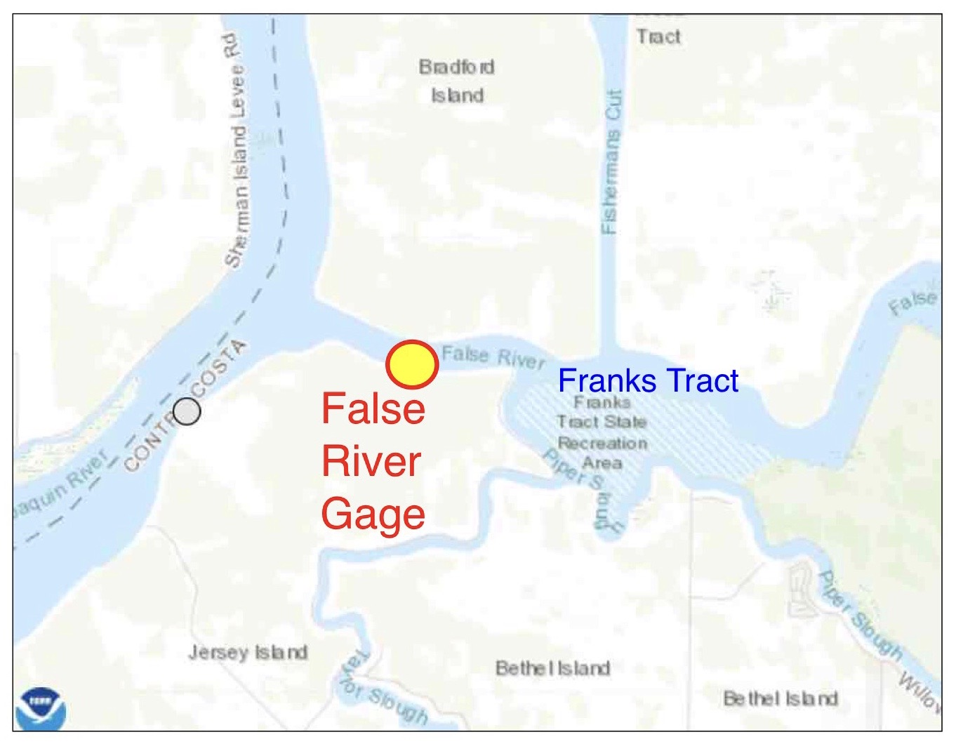 Figure 1. Franks Tract and False River gage location in west Delta.